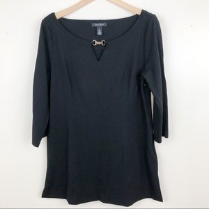 WHBM Black Tunic Top with Gold Accent